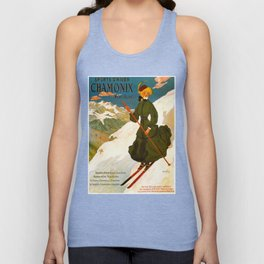 Vintage Chamonix Mont Blanc France Travel Unisex Tank Top
