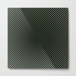 Black and Vineyard Green Polka Dots Metal Print
