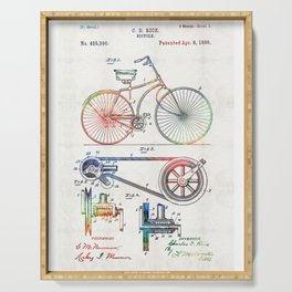 Colorful Bike Art - Vintage Patent - By Sharon Cummings Serving Tray