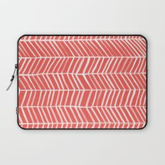 Coral Herringbone Laptop Sleeve