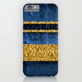Modern Abstract Organic Texture Blue and Gold iPhone Case
