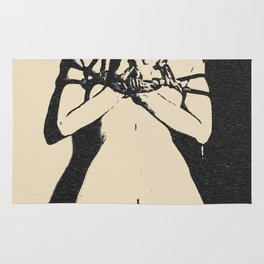 Reverse prayer? Kinky adult erotic, shibari rope bondage, brunette slave girl, submissive nude woman Rug