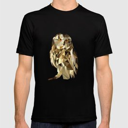 owl in brown and gold abstract geometric origami pattern on black background T-shirt