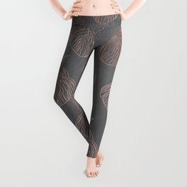 Modern floral hand drawn rose gold on grey cement graphite concrete Leggings