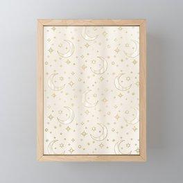 Celestial Pearl Moon & Stars Framed Mini Art Print