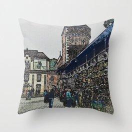Outdoor art market, Krakow, Poland Throw Pillow