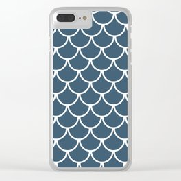 Dusky Blue Fish Scales Pattern Clear iPhone Case