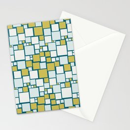 Off White, Pale Blue, Dark Yellow Funky Mosaic Squarre Pattern on Dark Teal Inspired by Sherwin Williams 2020 Trending Color Oceanside SW6496 Stationery Cards