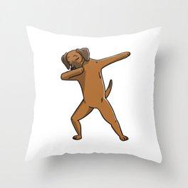 Funny Dabbing Rhodesian Ridgeback Dog Dab Dance Throw Pillow