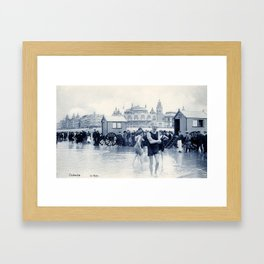 On the beach in 1900, history swimwear Framed Art Print