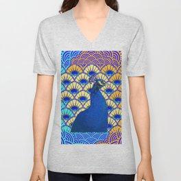DECO BLUE PURPLE PEACOCK ART Unisex V-Neck