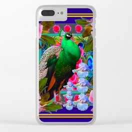 INDIGO & PINK-RED  ROSES GREEN PEACOCK IRIS FLORAL Clear iPhone Case