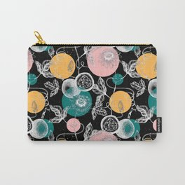 Passionfruit Pattern Black Carry-All Pouch