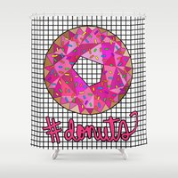 donuts Shower Curtains featuring #donuts by Stephanie Jett