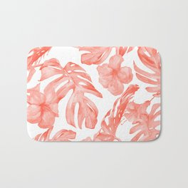 Tropical Hibiscus and Palm Leaves Dark Coral White Bath Mat