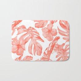 Tropical Hibiscus and Palm Leaves Dark Coral White Bath Mat