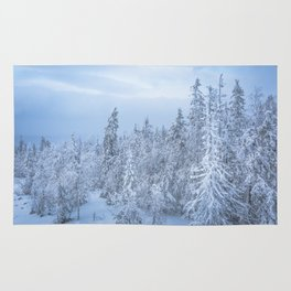 Winter forest in the Mountains Rug