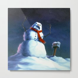 Beware the Snowman Metal Print