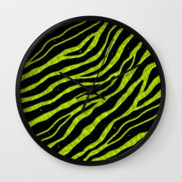 Ripped SpaceTime Stripes - Lime Yellow Wall Clock
