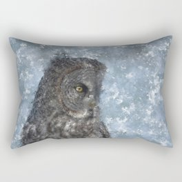 Contemplation - Great Grey Owl Portrait Rectangular Pillow