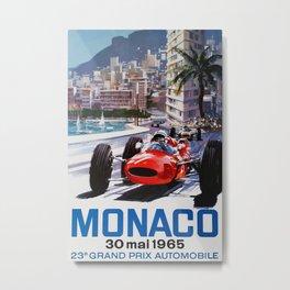 Grand Prix Monaco, 1965, vintage poster, race poster Metal Print