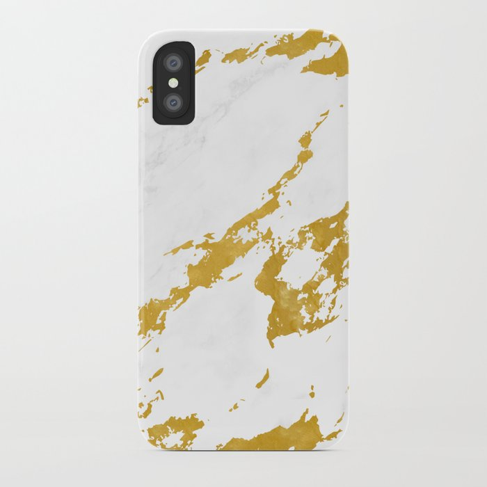 best service 95257 6d422 Elegant Marble style 6 - Gold and White iPhone Case by lematworks