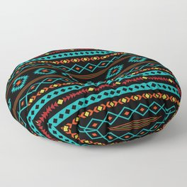 Aztec Teal Reds Yellow Black Mixed Motifs Pattern Floor Pillow