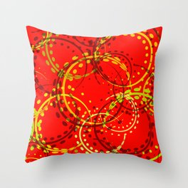 Mustard curls and circles of yellow and brown shades on a red background. Throw Pillow