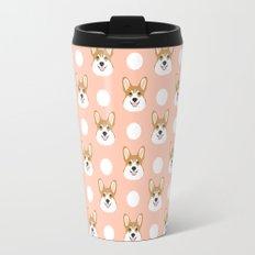 Corgi polka dots peach blush pastel pink coral welsh corgi iphone case for dog lover gifts for dogs Travel Mug