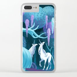 Moonlit Unicorns Clear iPhone Case