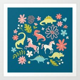 Dinosaurs + Unicorns Art Print