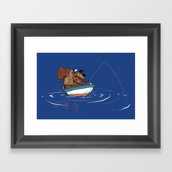 Bear Fishing Framed Art Print