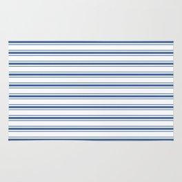 Mattress Ticking Wide Horizontal Stripe in Dark Blue and White Rug