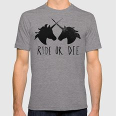 Ride or Die x Unicorns SMALL Tri-Grey Mens Fitted Tee