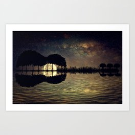 guitar island moonlight Art Print