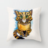 kitten Throw Pillows featuring Kitten by SilviaGancheva