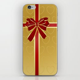 Gift wrapped in red and gold iPhone Skin