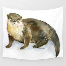 River Otter Watercolor Wall Tapestry