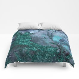 Malachite Glitter Stone and Ink Abstract Gem Glamour Marble Comforters