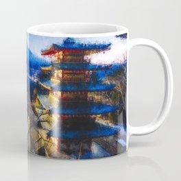 Temple and Mount Fujiyama - Digital Oil Painting Coffee Mug