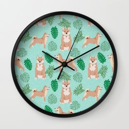 Shiba Inu summer monstera tropical pure breed dog gifts Wall Clock
