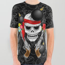 Pirate Skull, Ancient Guns, Flowers and Cannonballs All Over Graphic Tee