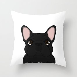 Frenchie - Black Brindle Throw Pillow