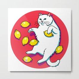 White Cat With Lemons Metal Print
