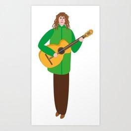 Guitarist in green Art Print