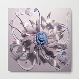 Space Flower- 3D Mixed Media Collage Metal Print
