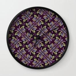 Field of Lilac Butterflies , Purple Wings Patterns in Geometric Formation with Flowers Wall Clock