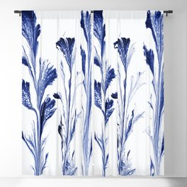 Painted Flowers In Blue Blackout Curtain