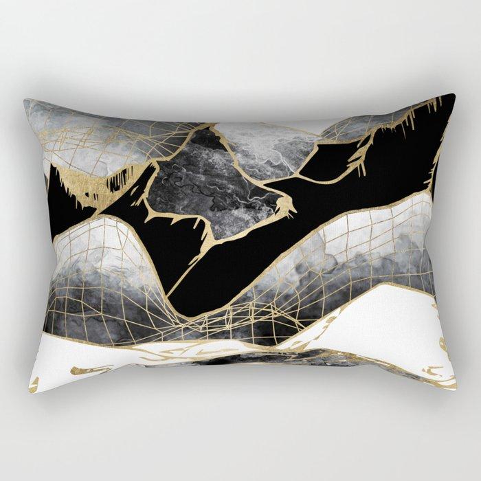 Minimal Black and Gold Mountains Rectangular Pillow
