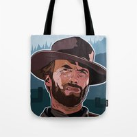 clint eastwood Tote Bags featuring Eastwood by Matt Fontaine